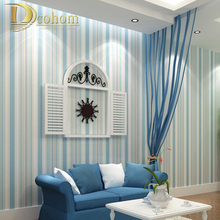 Modern fashion Horizontal White Blue Striped Wallpaper Roll Vertical Kids Child For Wall Living room Bedroom R107(China (Mainland))