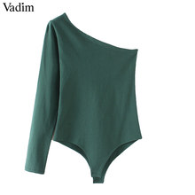 Vadim mujeres sexy un hombro bodysuits skew collar estirable básica playsuits mujer casual moda tops KA214(China)