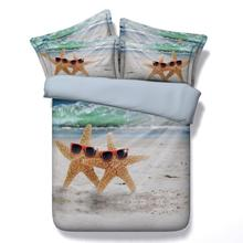 New Arrival! Model Cute Starfish / sea star and beach ocean bedding set sea pillowcase single double queen California king sheet(China (Mainland))