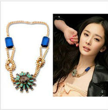 Min.order is $10(mix order)Free shipping!!!   Womens Imitation Gemstone Pendant Statement Necklaces Flower Jewelry Necklace(China (Mainland))
