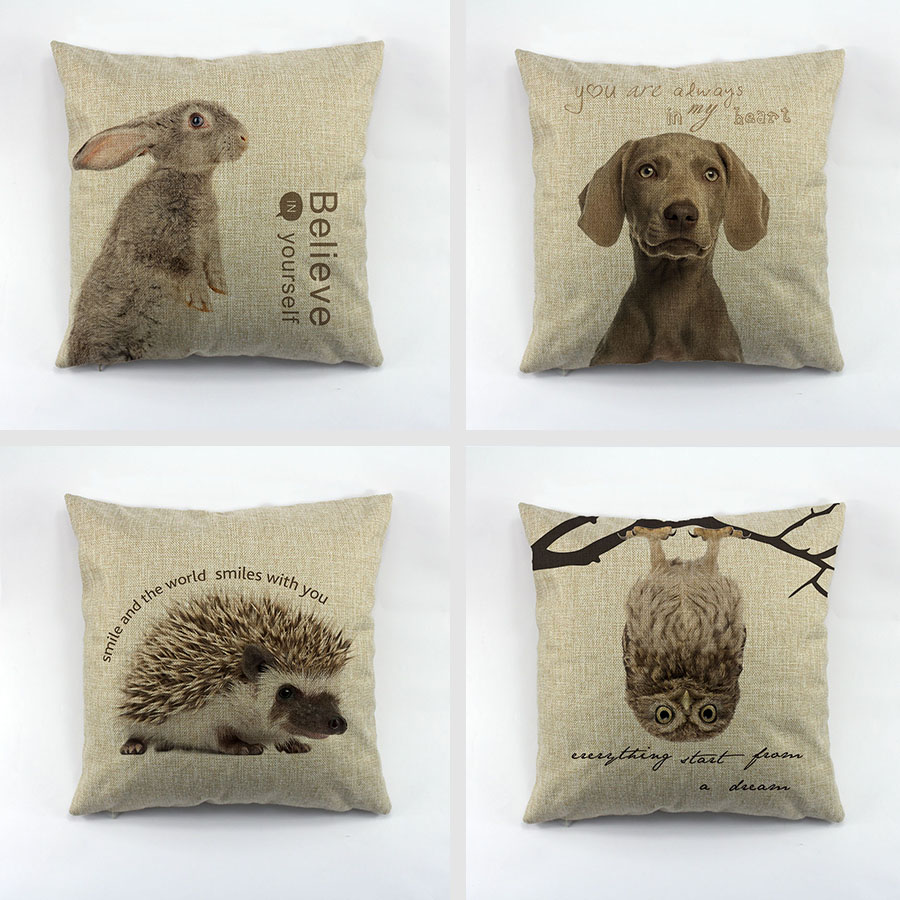 Animal Pillows : Aliexpress.com : Buy Animal series The rabbit dogs owl hedgehog printed cushion cover linen ...