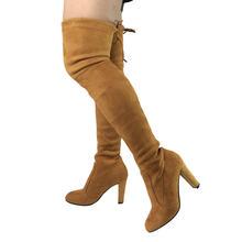 Top Faux Wildleder Frauen Oberschenkel Hohe Stiefel Stretch Schlank Sexy Mode Über das Knie Stiefel Weibliche Schuhe High Heels Schwarz grau Wein Nude(China)