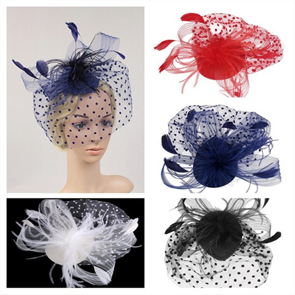 Retro Style Bird Cage Mesh Bridal Face Veil Feather Fascinator Hair Clip Hat Mesh Feather Organza Mesh Veil Hair Clip Fascinator(China (Mainland))