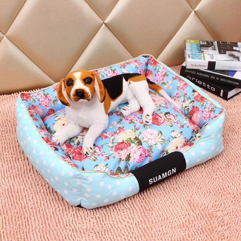 2016 Breathable Fashion Style Flower Birds Printed Cat Dog Mat Pad Soft Durable Dog House Kennel Cheap Pet Bed Warm Bed For Dogs(China (Mainland))
