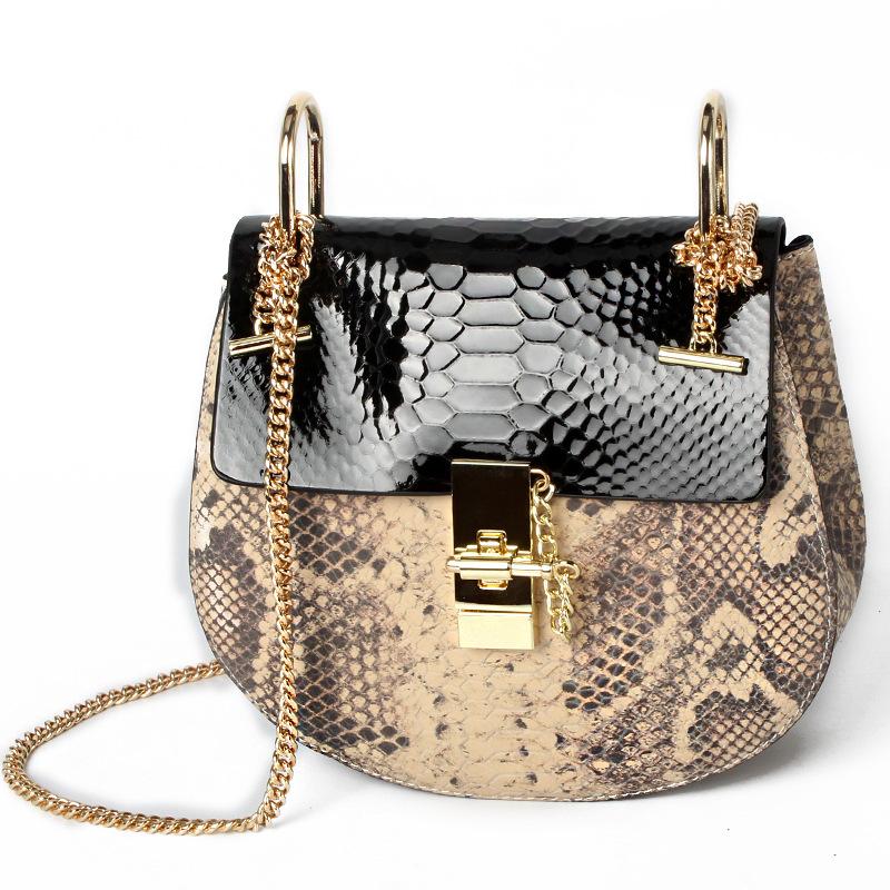 Hot sale New women genuine leather shoulder messenger bag womens casual fashion saddle bags female Serpentine design chain bag<br><br>Aliexpress
