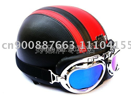 New Arrived Leather Cycling Helm Motorbike Bicycle Casque Half Face Motorcycle Black # Red Helmet & UV Glasses SIZE M , L , XL