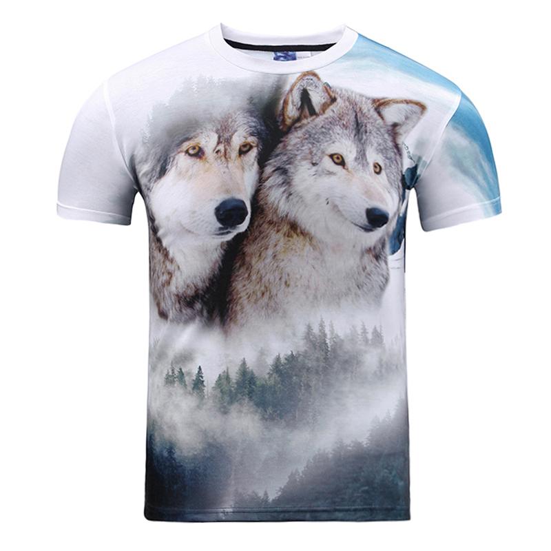 Wolves T Shirt 3D Animal Big Face Harajuku Brand Clothing Casual Swag Skateboard Gym T-shirt Streetwear Wholesale Tshirt Tee Top(China (Mainland))