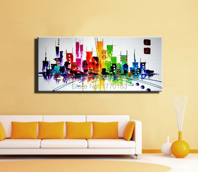 Mode moderne peinture abstraite de new york city couleur for Peunture simple salon