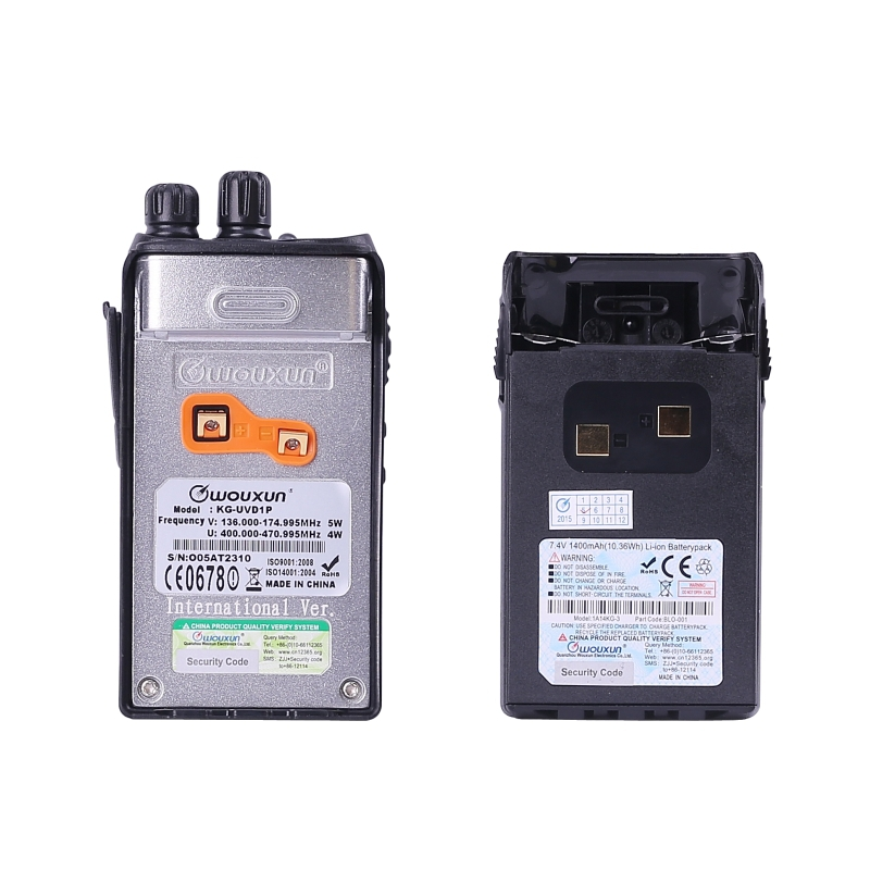 1400mAH Li-ion battery WOUXUN KG-UVD1P Dual Band 136-174MHz & 400-470MHz  handheld transceiver with VOX Function