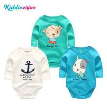 Girls Clothes Newborn Unicorn Baby Boy Clothes Bodysuit Cotton Baby Girl Clothes 0-12M Girls Baby Sets BabyWear Jumpsuits 3Pcs(China)