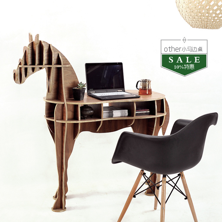 FREE SHIPPING Factory wholesale European Arts Crafts Home Decoration wooden horse simulation wood furniture coffee table(China (Mainland))