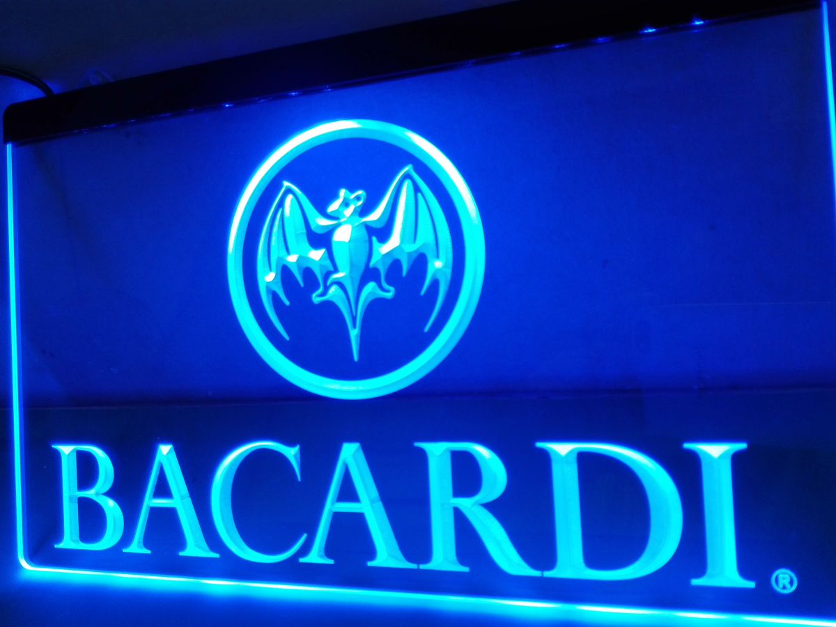 LA023- Bacardi Banner Flag LED Neon Light Sign home decor crafts(China (Mainland))