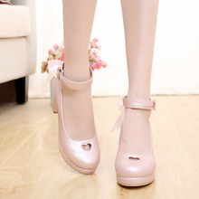 Hollow out shoes pearl love Japanese pure color high-heeled lolita lolita soft sweet sister