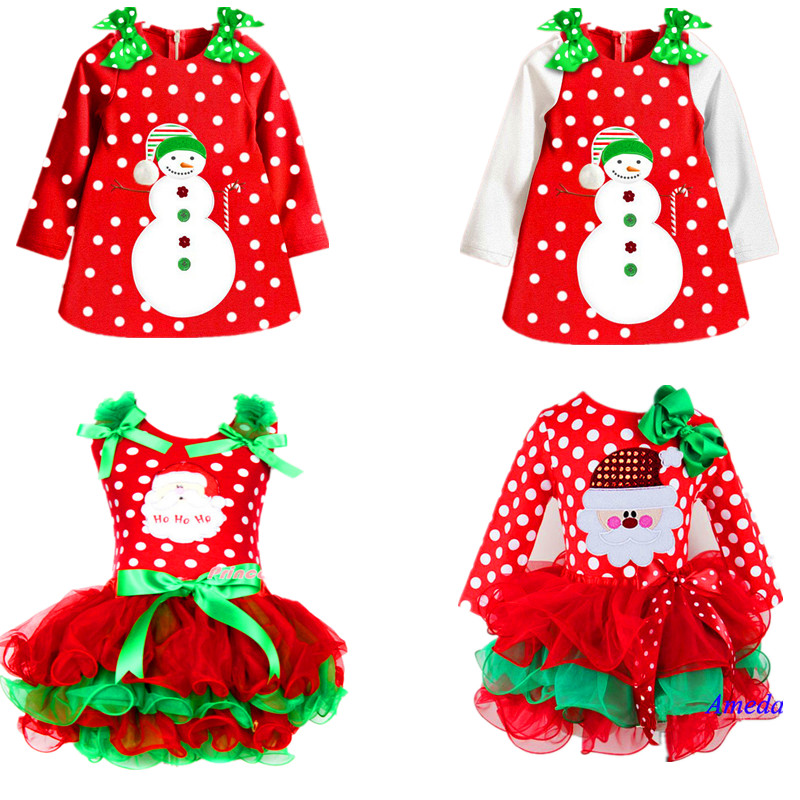 2015 New Christmas Girls Dress Long-Sleeve Winter Dot Dresses Kids Clothes Cotton Children's Clothing Christmas Party Costume(China (Mainland))