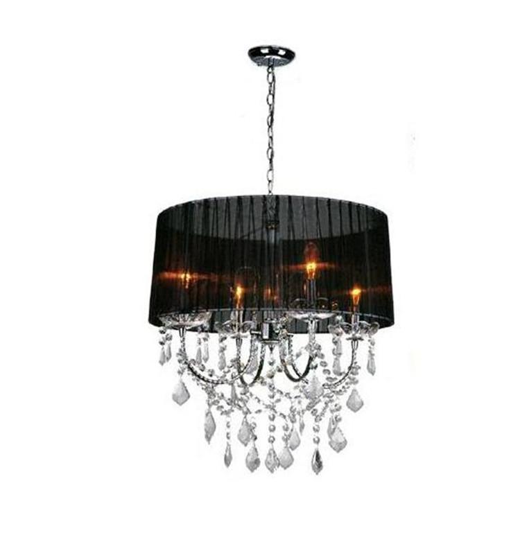 Фотография Modern Crystal Chandeliers Light,Round Lampshade 4-Light Holder Fabric Lamp Shade Luminaire Chandelier Lamp,CL01