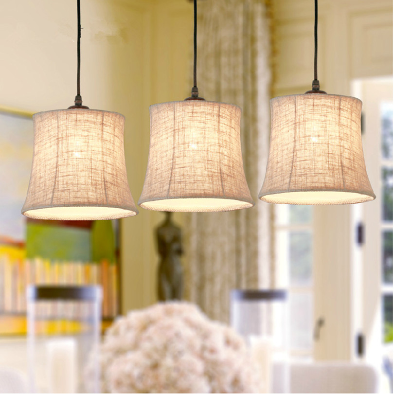 2015 Big Discount Lamp American Country Creative Flax And Painted Iron Pendant Light Simple Vintage 1 Head 3 Head Pendant Light