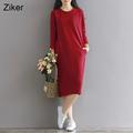 Winter Women Dresses Thick Velvet Long Sleeve Knee Length Solid Warm Casual Dress Femininas vestidos M
