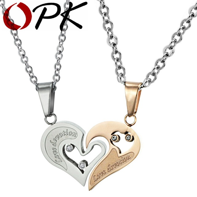 OPK Couple love heart pnedants necklace for lover inlaid rhinestone CZ. rose gold Plated Stainless Steel free shipping 537