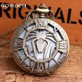 New Unique Hollow Spider Design Bronze Pocket Watch with FOB Chain Super Hero Spider Man Fans