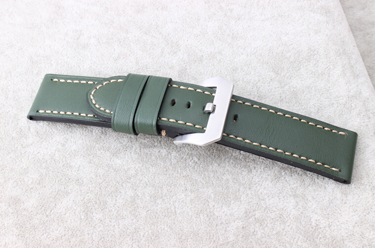 Ручной работы! Новый 24 мм серый кожаный ремешок часы группы серебряный матовый пряжка фермуаров для P-A-N-E-R-A-I мужские часы