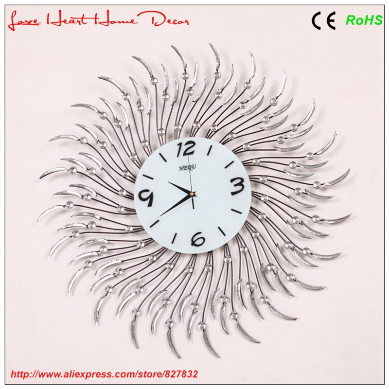 Pastoral style home decoration diamante wrought iron wall clock living room - Love Heart Home Decor store