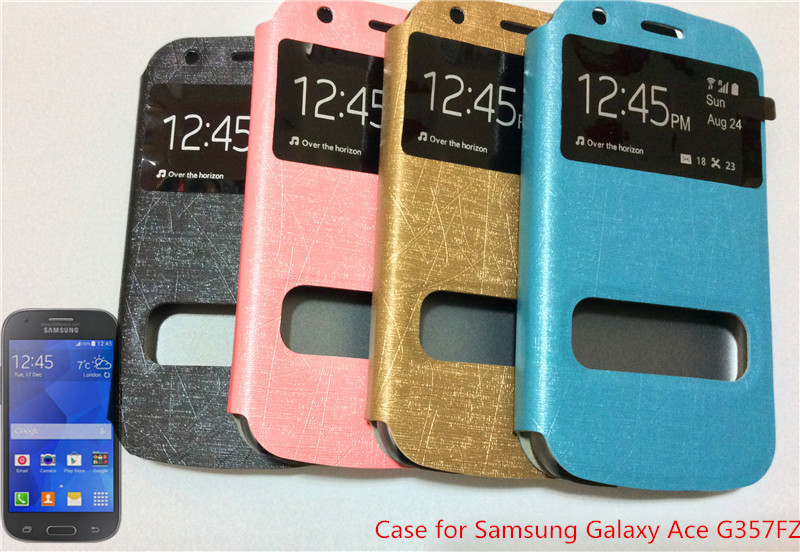 Waterproof Genuine Leather Stand Case FOR Samsung Galaxy Ace 4 Style LTE G357 G357FZ Window View - Protected Mode store