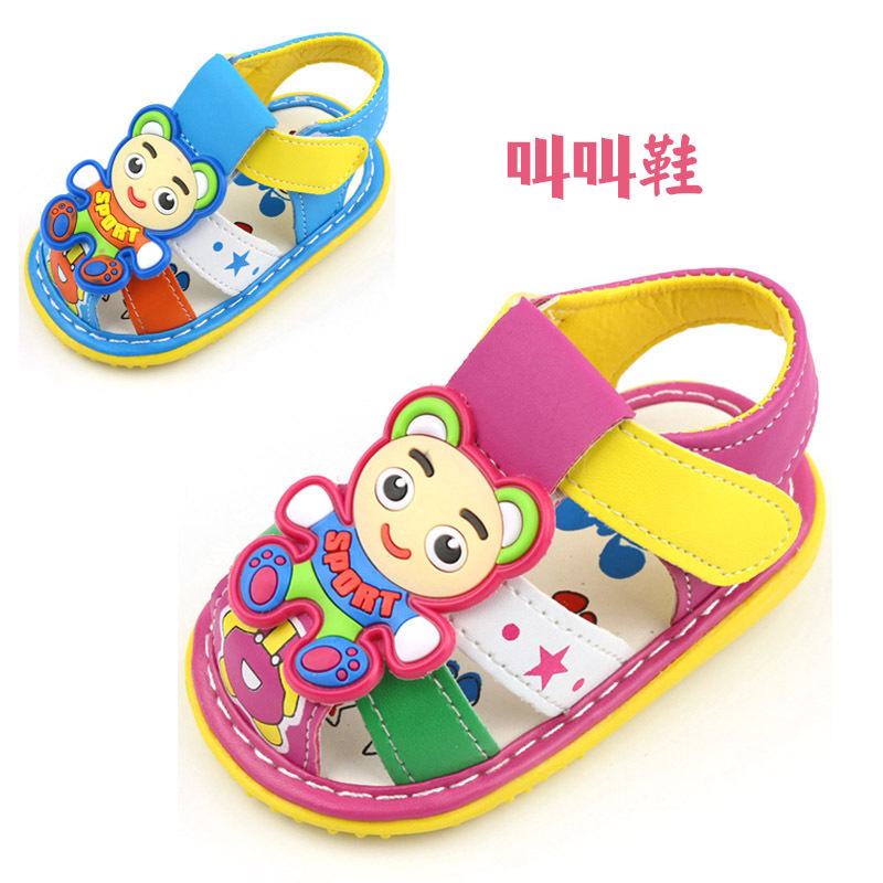 Cartoon Squeaky Baby Shoes Summer Style Anti-slip First Walker Shoes PU Leather Coze Kid Footwear For Baby Girl Boy Squeaky Shoe(China (Mainland))