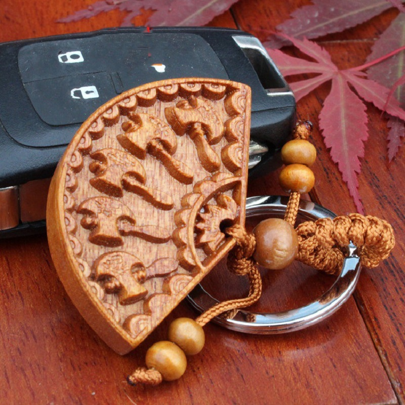 1pc/lot New Arrival Handmade woodwork Keychain 5 axe Wood Carving Car Pendant Lucky Keyring Hang Statue Gift For Women Men(China (Mainland))