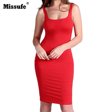 Buy Missufe Red Blue Black White Tank Dress 2017 Summer Knee Length Slim Casual Bodycon Tunic Sexy Clubwear Party Women Dresses for $9.99 in AliExpress store