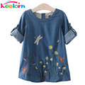 Keelorn Girls Denim Dress Children Clothing Casual Style Girls Clothes Butterfly Embroidery Dress Kids Clothes 2017