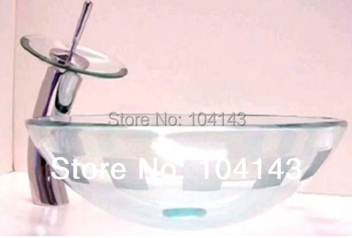 Cheaper Clear Construction Real Estate Bath Fixtures Sinks Vessel Basins With Faucet Single Hole L1 Glass