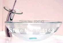 Cheaper Clear Construction Real Estate Bath Fixtures Rectangular Sinks Vessel Basins With Faucet Single Hole L1 Glass Faucet Set
