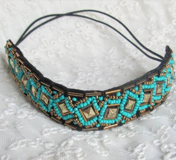 2015 new Wholesale fashion handmade blue beads europe style hairbands headband party hairband hair accessories(China (Mainland))