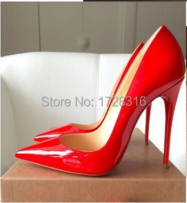 Sexy red sole 12 cm high heels pointed toe shoes women japanned leather wedding Wine thin ol beige pumps - Super VIP shoe store
