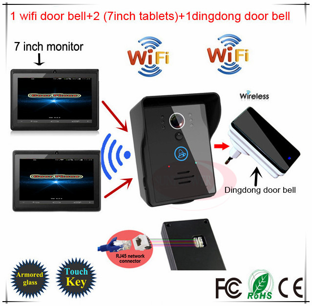 Android IOS App Wireless WiFi Video Door Phone intercom Doorbell+Two 7inch tablets + One inner door bell free shipping(China (Mainland))