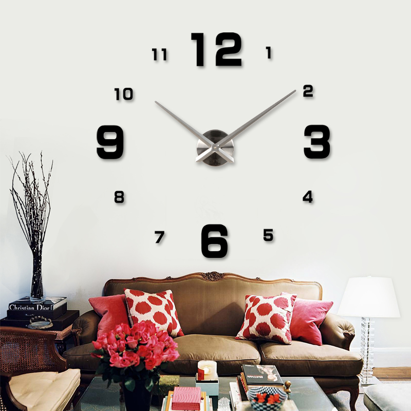 Living Room 3D Art DIY Big Digital Wall Clock Home Decor Modern Designer Stickers Clocks Watches Unique Gifts Freeshipping - JC & Garden store