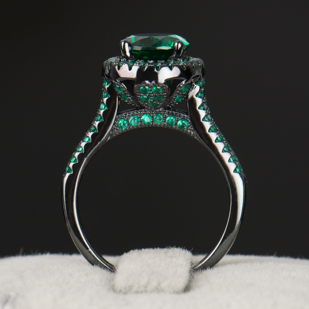 R&J 2016 Hight Quality 14KT Black Gold Filled Ring Wedding fashion Jewelry Green Emerald 5A Zircon Crystal rings For Women Gift(China (Mainland))