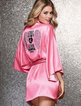 High Quality New Arrivals Women Sexy Bathrobes Faux Silk Pink Sleepwear Plus Size Robes Nightdress for Ladies Mp1(China (Mainland))