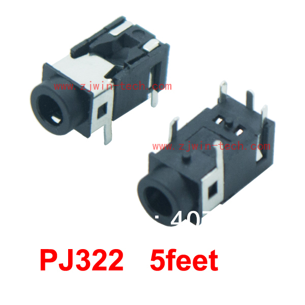 Free shipping 100pcs/lot earphone socket audio jack 3.5mm connector female 5pin DIP PJ322(China (Mainland))