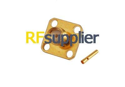 20PCS RF Connector SMA Female Panel Mount 4-Hole Solder Semi-rigid 141'/RG402 Cable(China (Mainland))