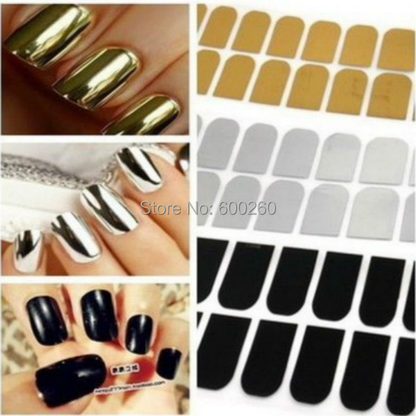 Smooth Nail Art Beauty Sticker Patch Foils Armour Wraps Decoration Decal Black Silver Gold 2015 New free shipping(China (Mainland))