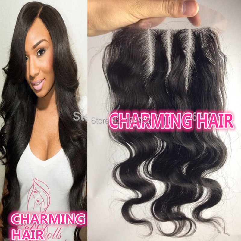 UPS DHL 3 way part Virgin Peruvian body wave lace closure 4X4'' density 120% full thick end, natural color - Qingdao Charming Hair Product Co., Ltd. store