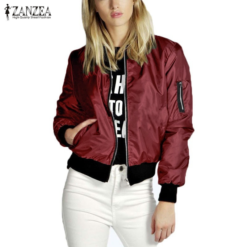 ZANZEA 2016 Spring Autumn Women Thin Jacket Tops Celeb Bomber Long Sleeve Coat Casual Stand Collar Slim Fit Outerwear Plus Size(China (Mainland))