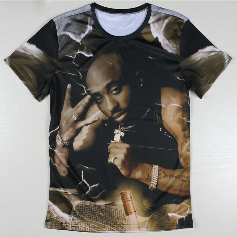 New Fashion Men Tupac Shakur 2Pac T Shirts Harajuku Tshirts Casual 3D Character T shirts Hip