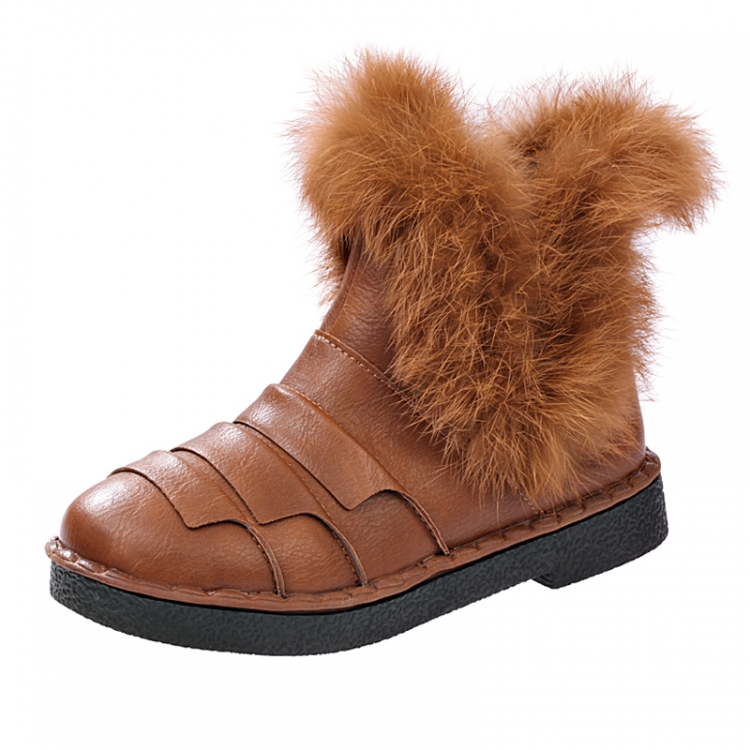 2015 NEW style cute Rabbit hair autumn winter boots bow shoes women short round toe solid ankle - SAR store