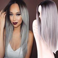 Synthetic Hair Wigs for Black Women Long Ombre Straight Hair 26″ 240g Black Ombre Light Gray Hair New Fashion Ombre Style Wigs