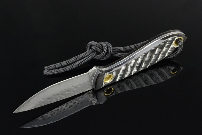 Buy Handmade Forged imitation pattern Damascus Hunting Knife Three alloy steel black horn camping survival tactical pocket knife cheap