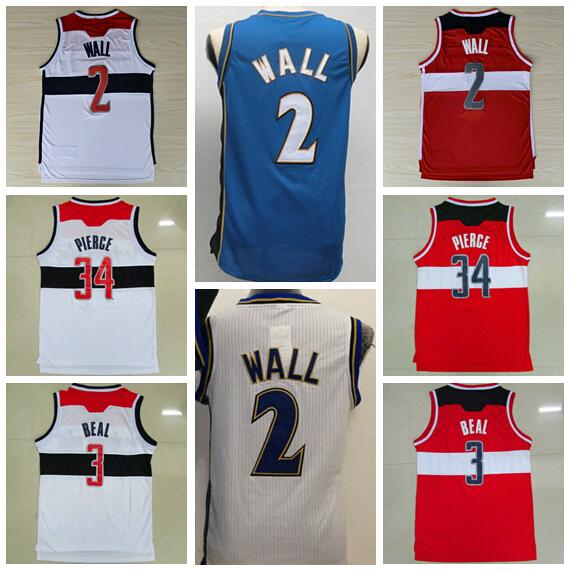 Cheap 2 John Wall Basketball Jerseys Washington 3 Bradley Beal 34 Paul Pierce Jersey Men's Home Blue Red White High Quality(China (Mainland))