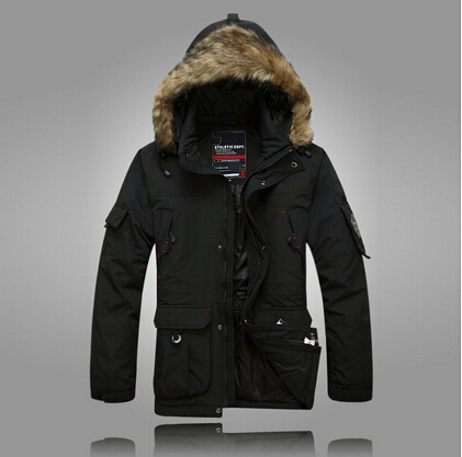 Parka vs Down Jacket Down Fur Hooded Parka Men