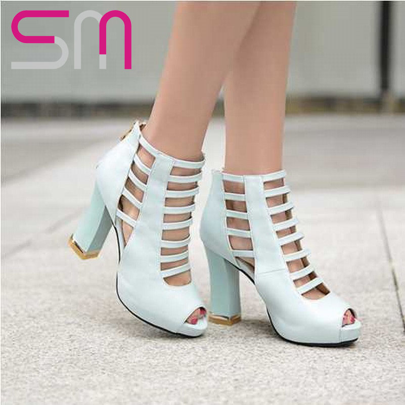 Sexy Open toe Cutouts Ankle Boots Summer Boots Gladiator Sandals 2015 Hoof High Heels Platform Sandals Summer Style Shoes Woman<br><br>Aliexpress